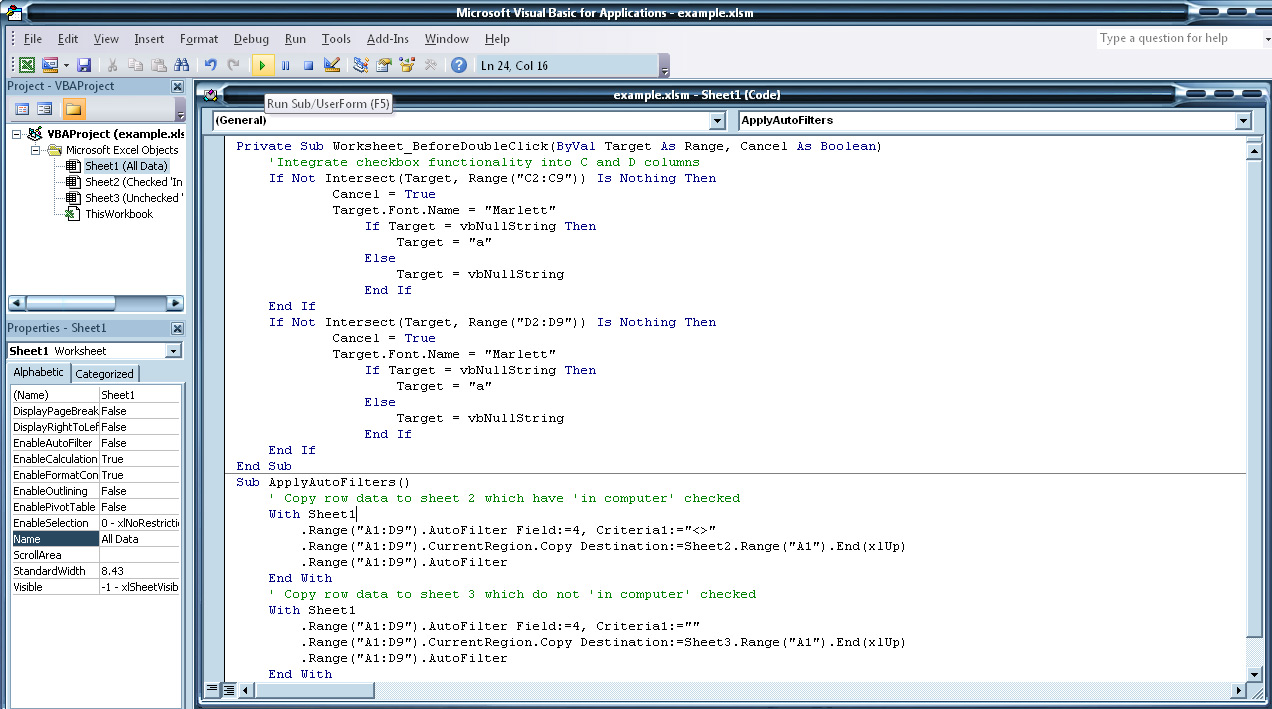 In The Visual Basic Window, You'll See Some Code Already Setup