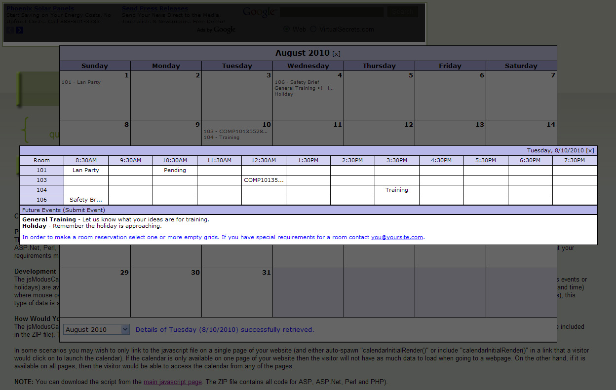 Event Calendar Js : Javascript jsmoduscalendar calendar for showing events and room